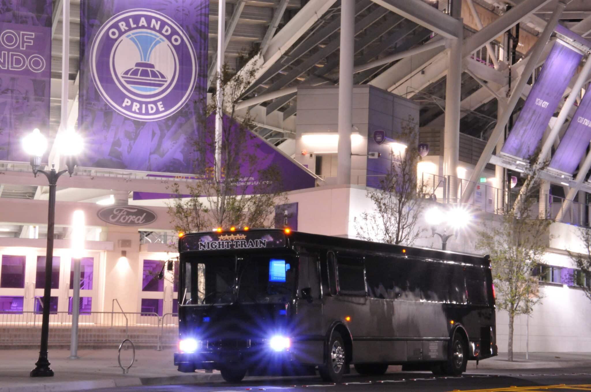 Night Train Party Bus Outside Orlando City